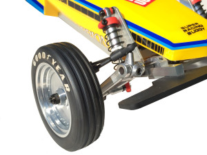 Kyosho includes a set of medium compound ribbed front tires with the buggy for durability and balanced offroad driving.
